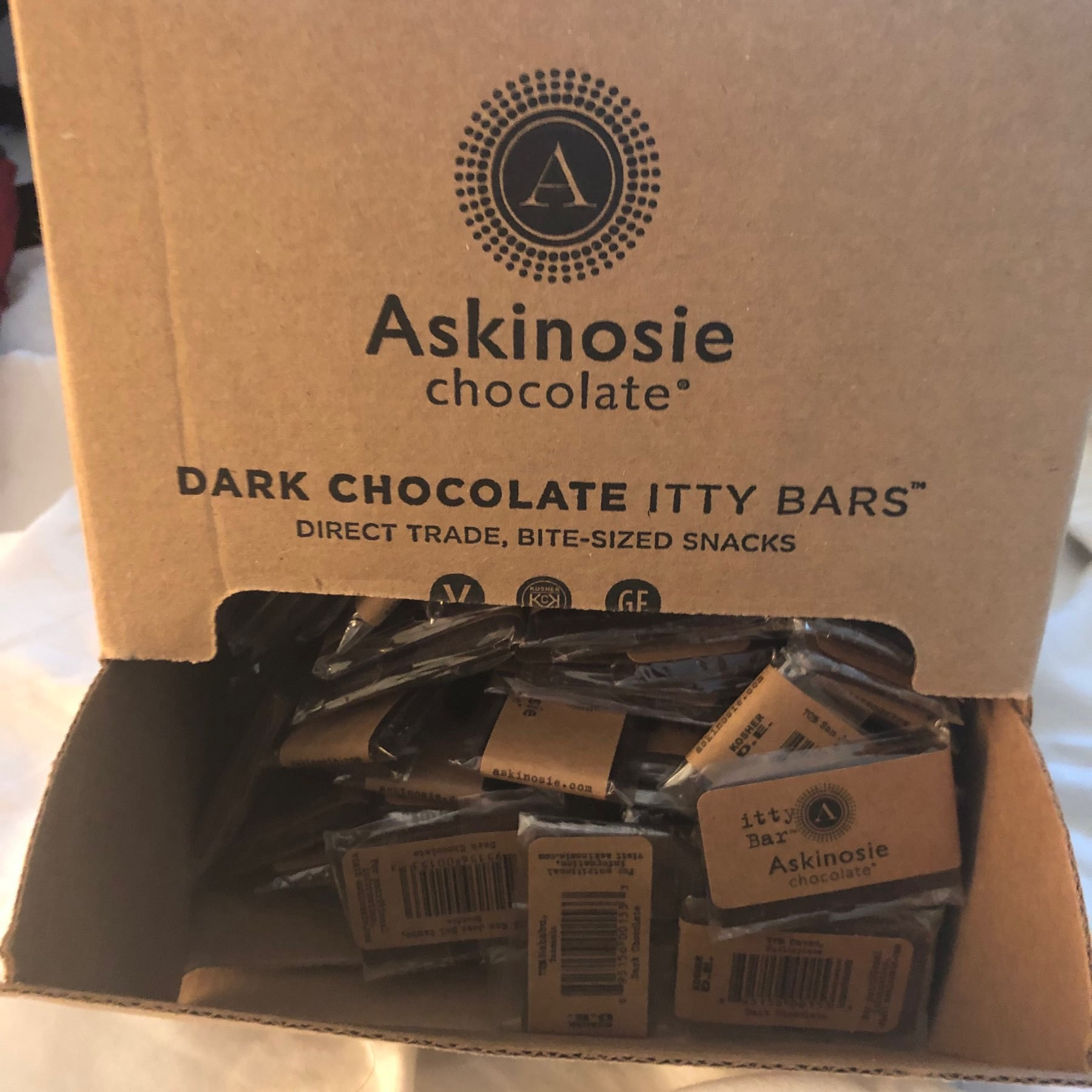 Box of Bite Sized Chocolate Bars.