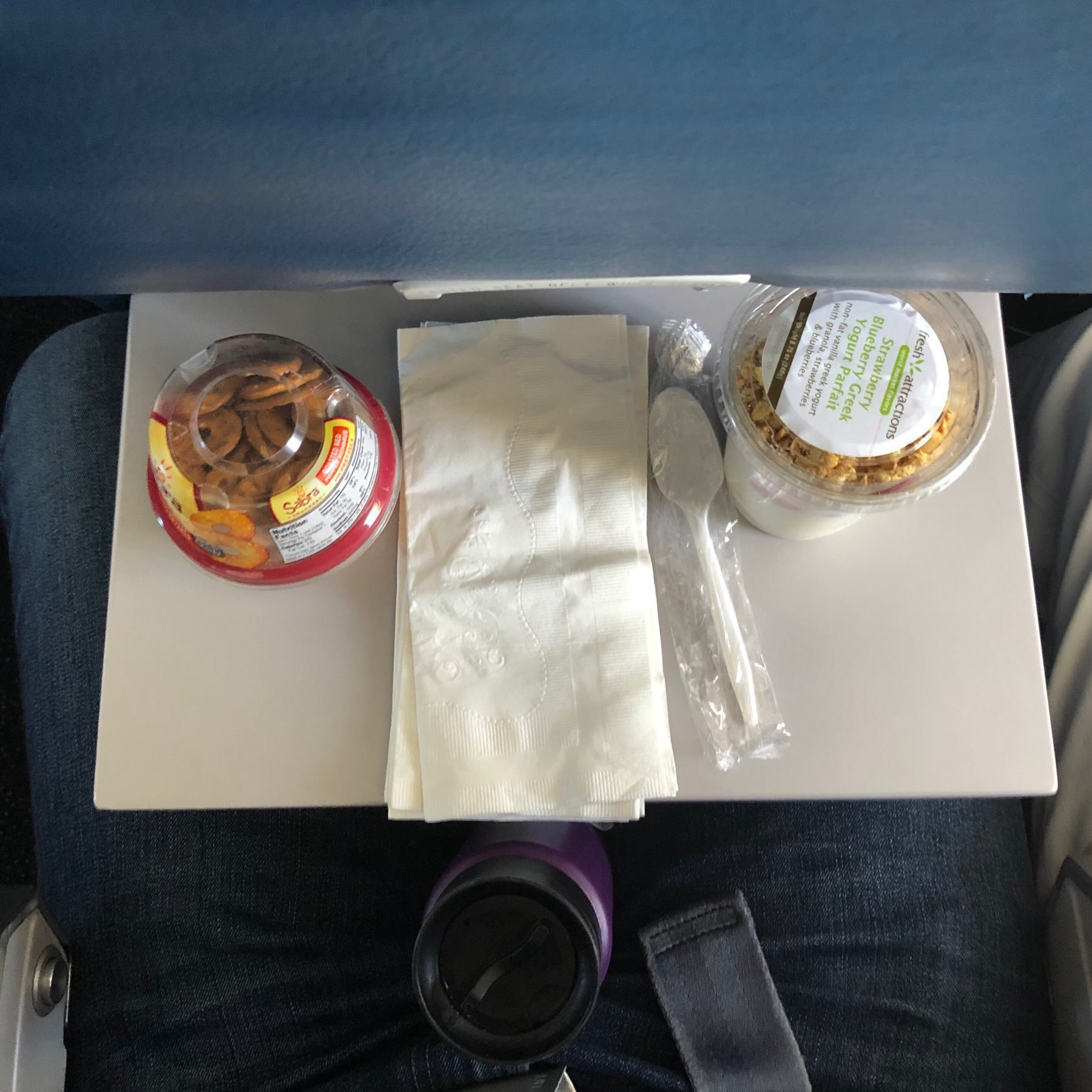 Airline tray table with not enough room