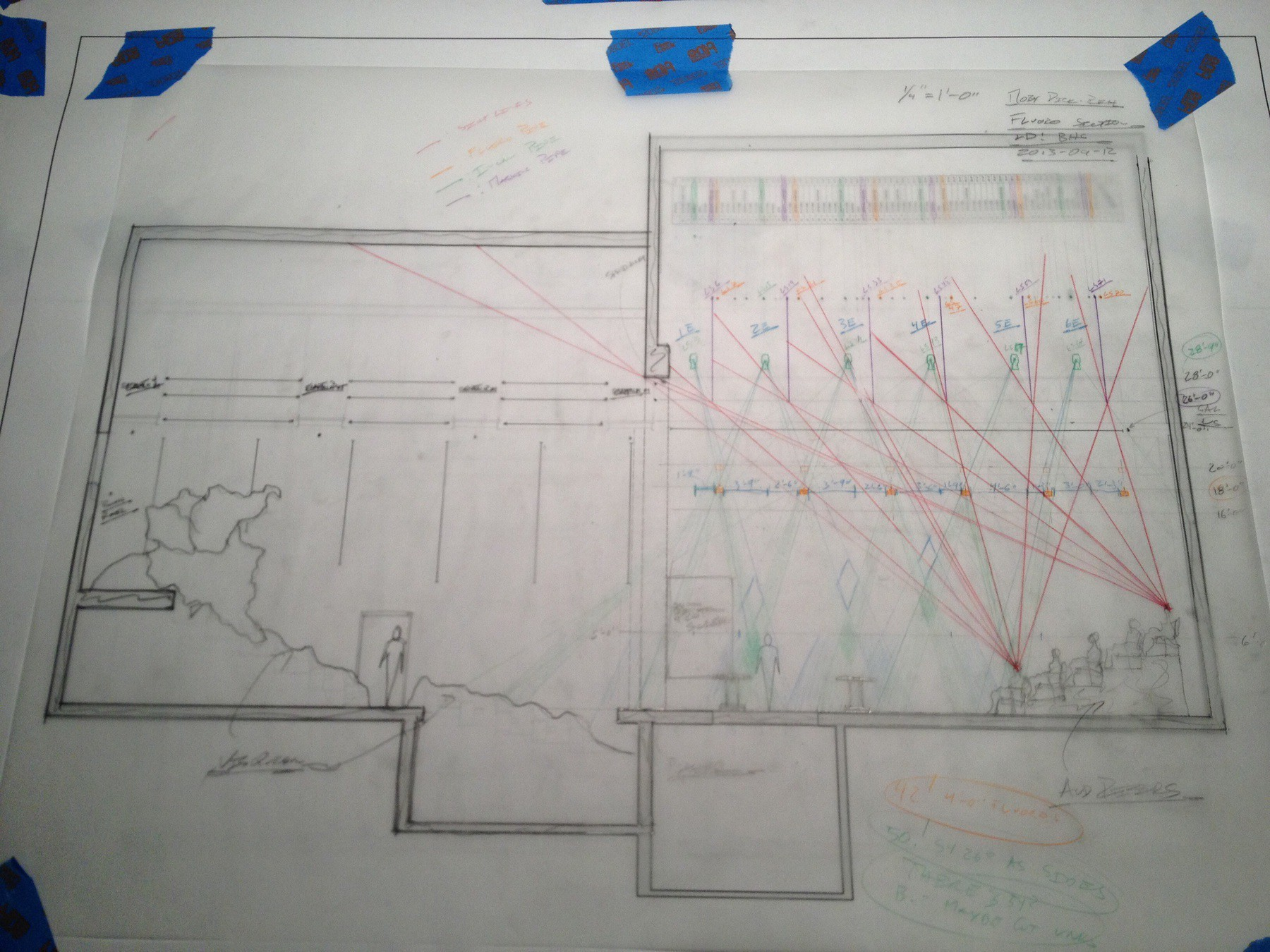 Lighting Worksheet and Sightline Section on Tracing Paper