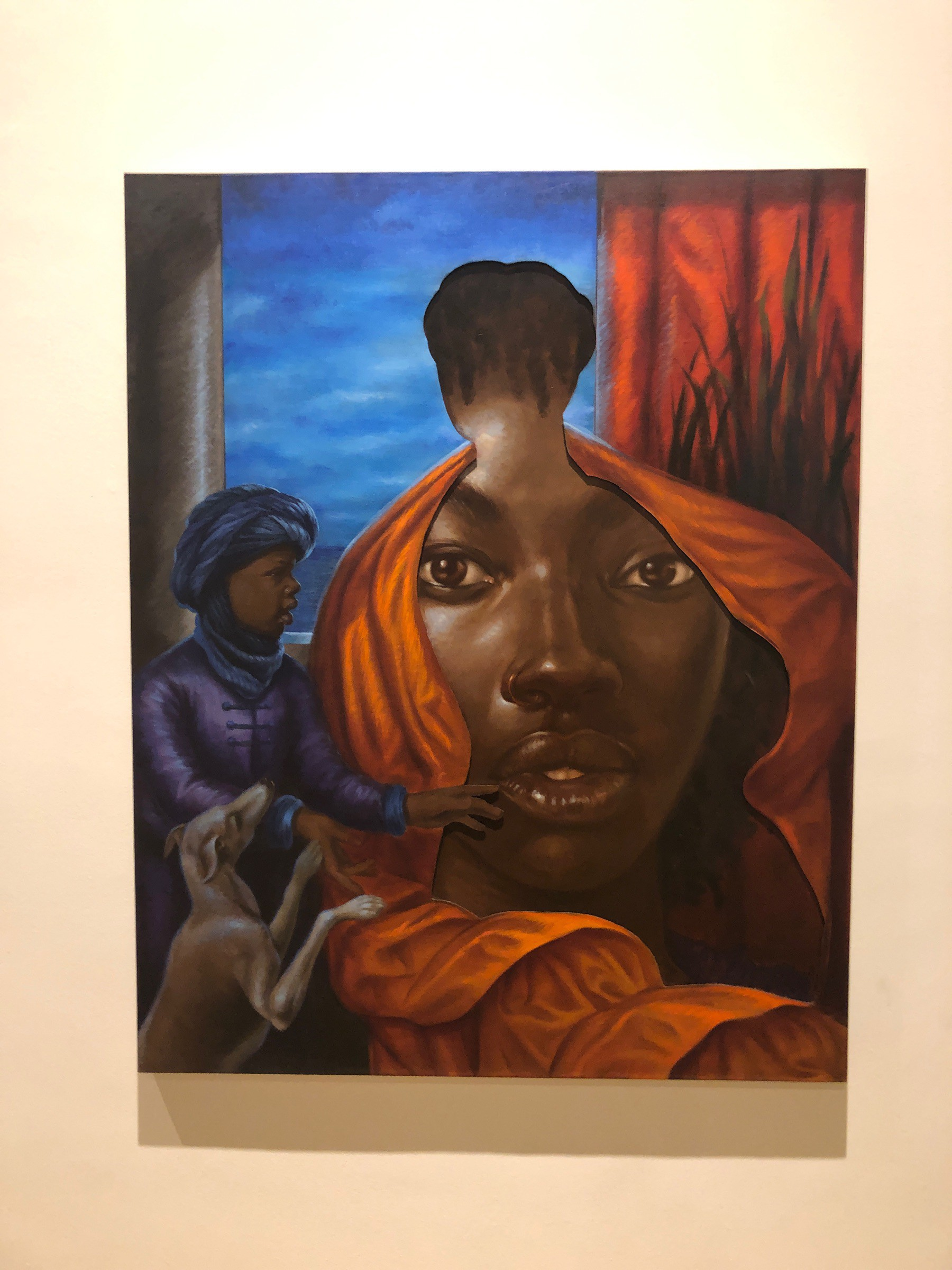 "A 18th century painting of a white womam being waited upon by a black child slave. The white woman has been ""cut"" out of the painting and the void reveals s portrait of a black woman's face."