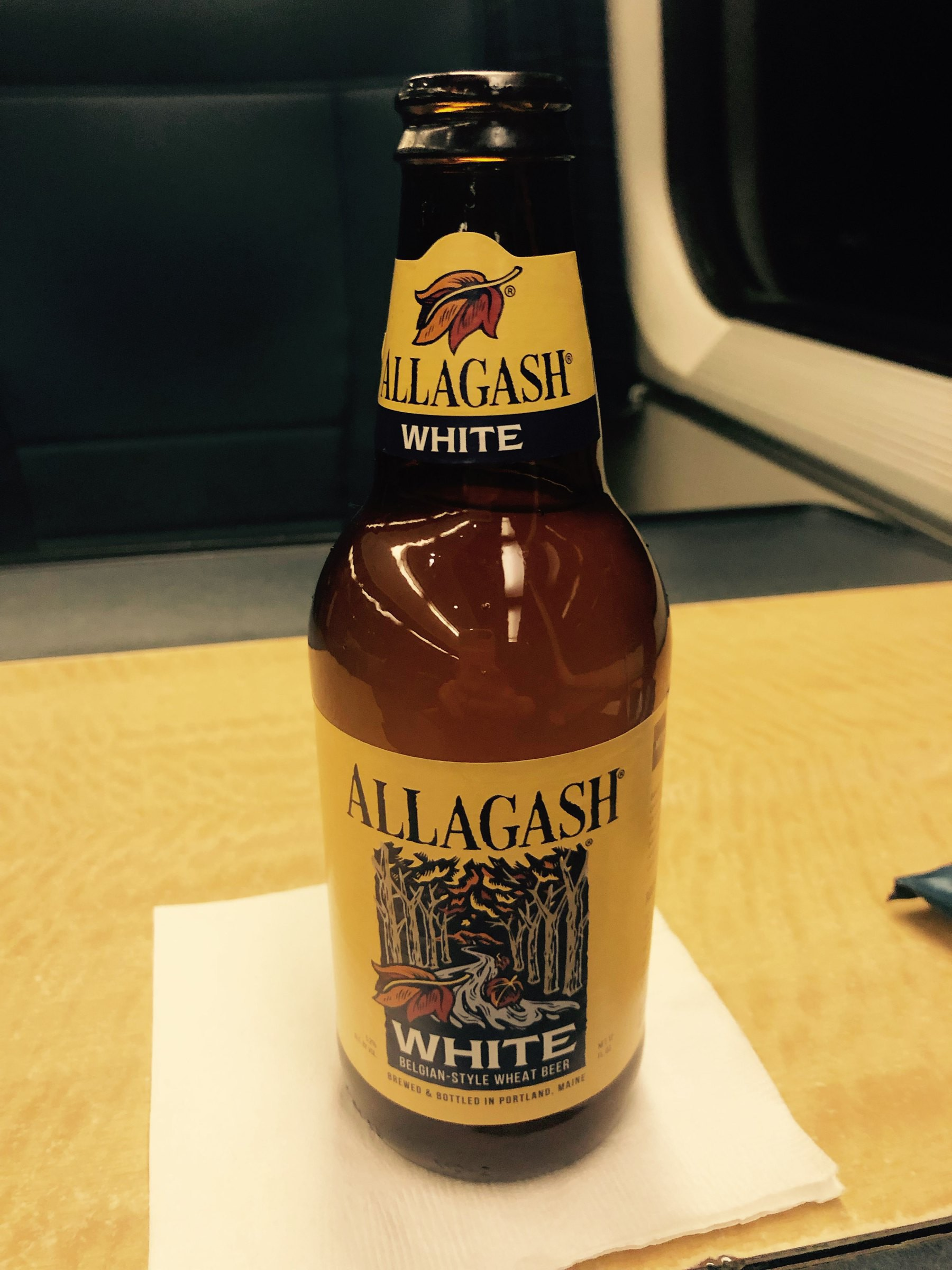 Bottle of Allagash White beer.